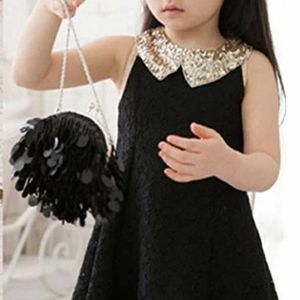 Black lace dress with gold